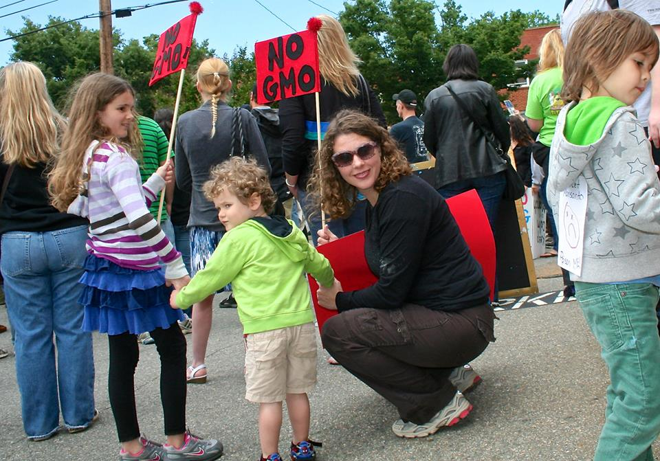 Kate Noon and her children before the march.
